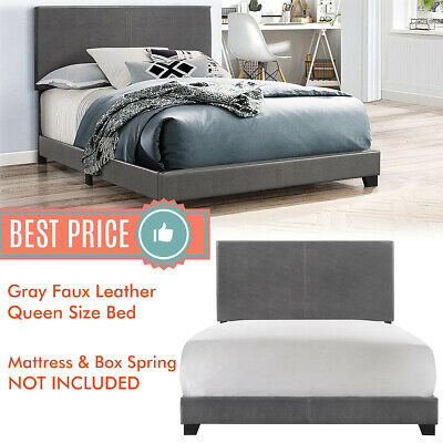Queen Size Bed Frame Platform With Headboard Erin Gray Faux leather Upholstered