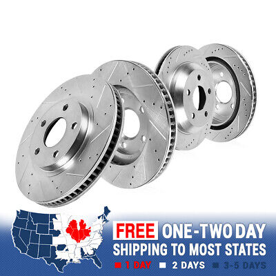 Front & Rear Drill & Slot Brake Rotors For 2015 Ford Mustang S550
