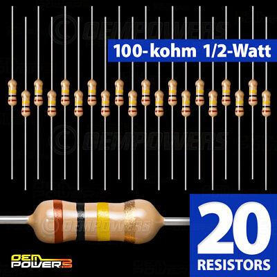 20 X Radioshack 100k-ohm 12-watt 5 Carbon Film Resistor 2711131 Bulk Pack New