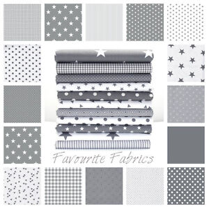 STARS-GREY-and-WHITE-COTTON-FABRIC-by-the-metre-EX-WIDE-NURSERY-BOYS-Oeko-tex