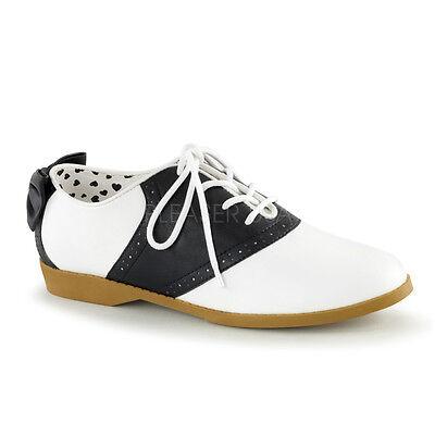 Black White Grease Saddle Shoes Jitter Bug Dance Sock Hop Womans size 7 8 9 10