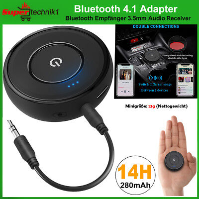 Bluetooth 4.1 Empfänger Audio Adapter Wireless Stereo Musik A2DP 3.5mm Aux Auto