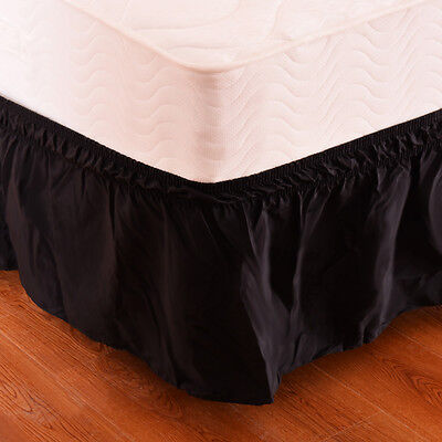 "Black QueenKing Size Elastic Bed Wrap Ruffle Bed Skirt Around Bed 14"" Drop"