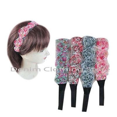 12pcs Women Lace Head Band Elegant Rosette Mesh stretch Elastic Hair Accessories