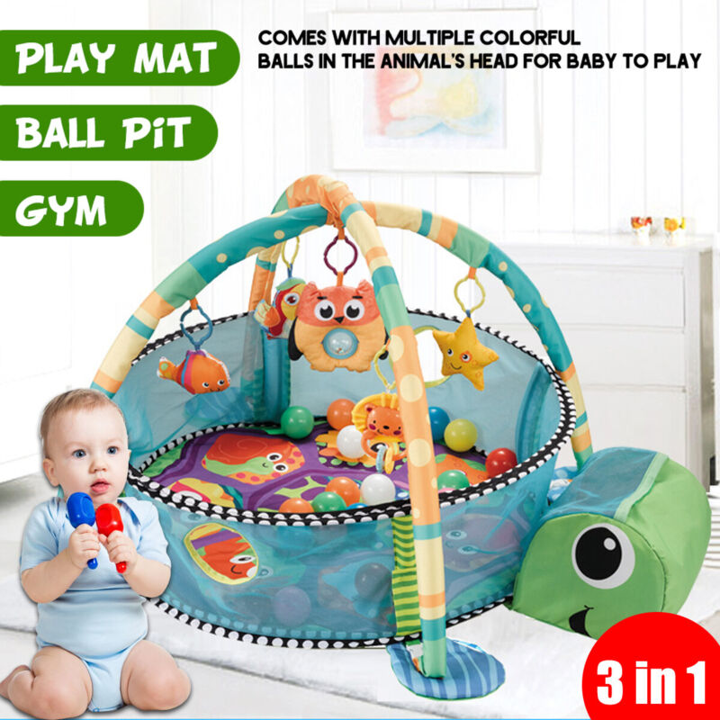 3 In 1 Multifunctional Baby Infant Activity Gym Play Mat With 30pcs Ocean Balls