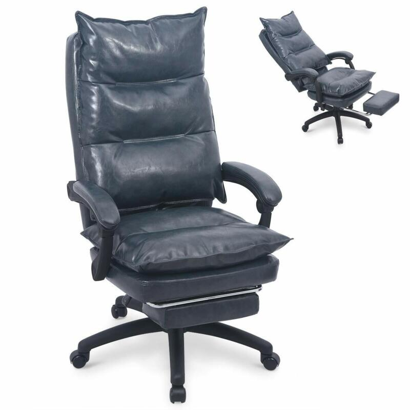 Details about Ergonomic Executive PU Leather Office Sofa Chair W  Retractable Footrest BlueGrey