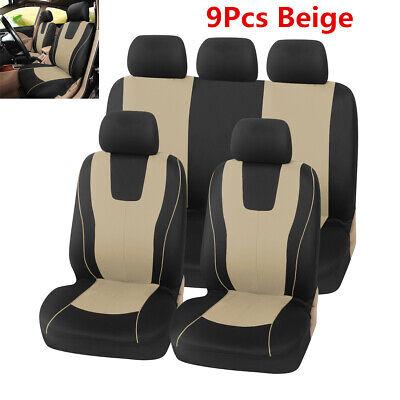 Universal 9pcs Car Seat Covers Beige Full Set Front Rear Cover For SUV Sedan Van