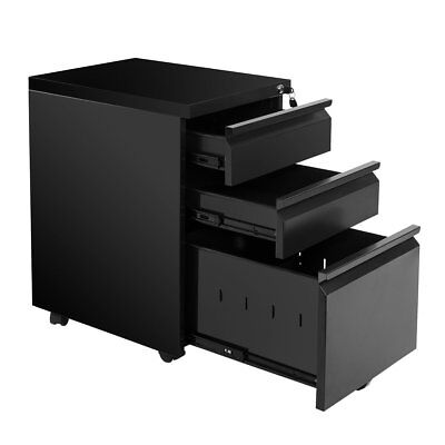Devaise Rolling Mobile 3-drawer Office File Cabinet With Wheels In Black White