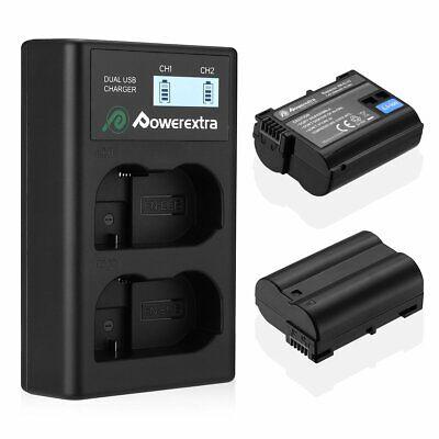 Powerextra EN-EL15 Ersatzakku Dual USB Ladegerät für Nikon D7100 D7200 D810 D610 810 Usb