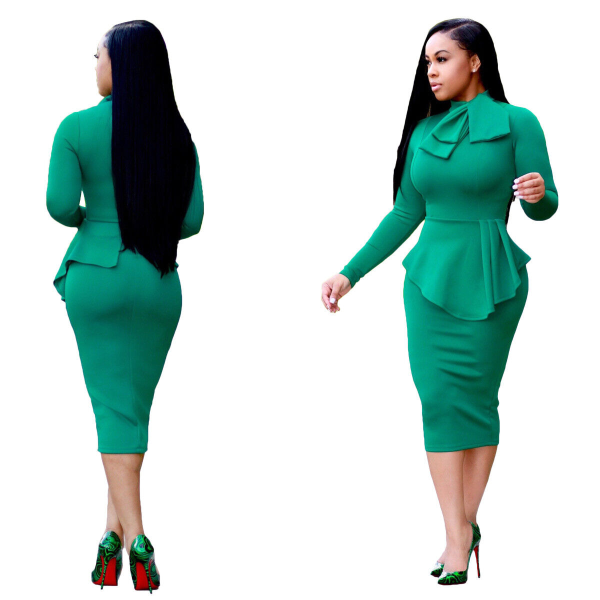 Ladies Gowns: Women Casual Long Sleeve Dresses Bodycon Evening Elegant