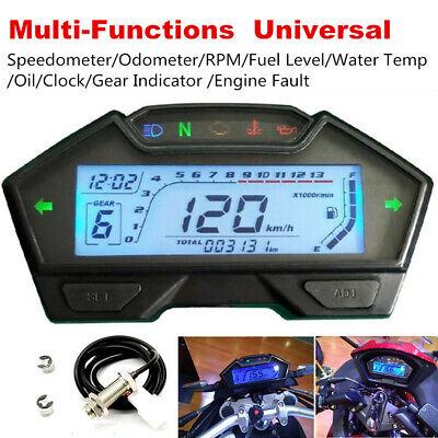 1xMotorcycle Speedometer Odometer RPM Speed Fuel Gauge Kph Mph Water Temp+Sensor