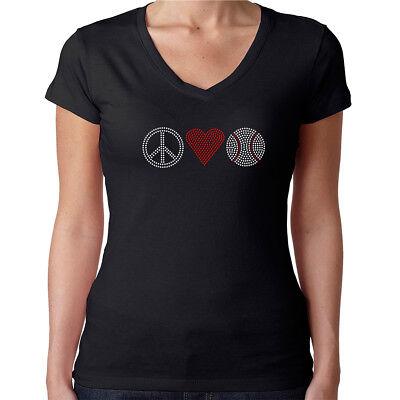 Baseball Womens Fitted T-shirt (Womens T-Shirt Rhinestone Bling Black Fitted Tee Peace Love Baseball Red Heart )