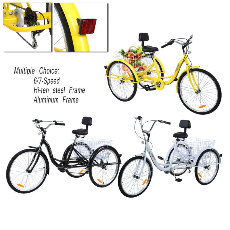 """24""""/26'' 7-Speed 3 Wheel Unisex Adult Tricycle Bicycle Baske"""