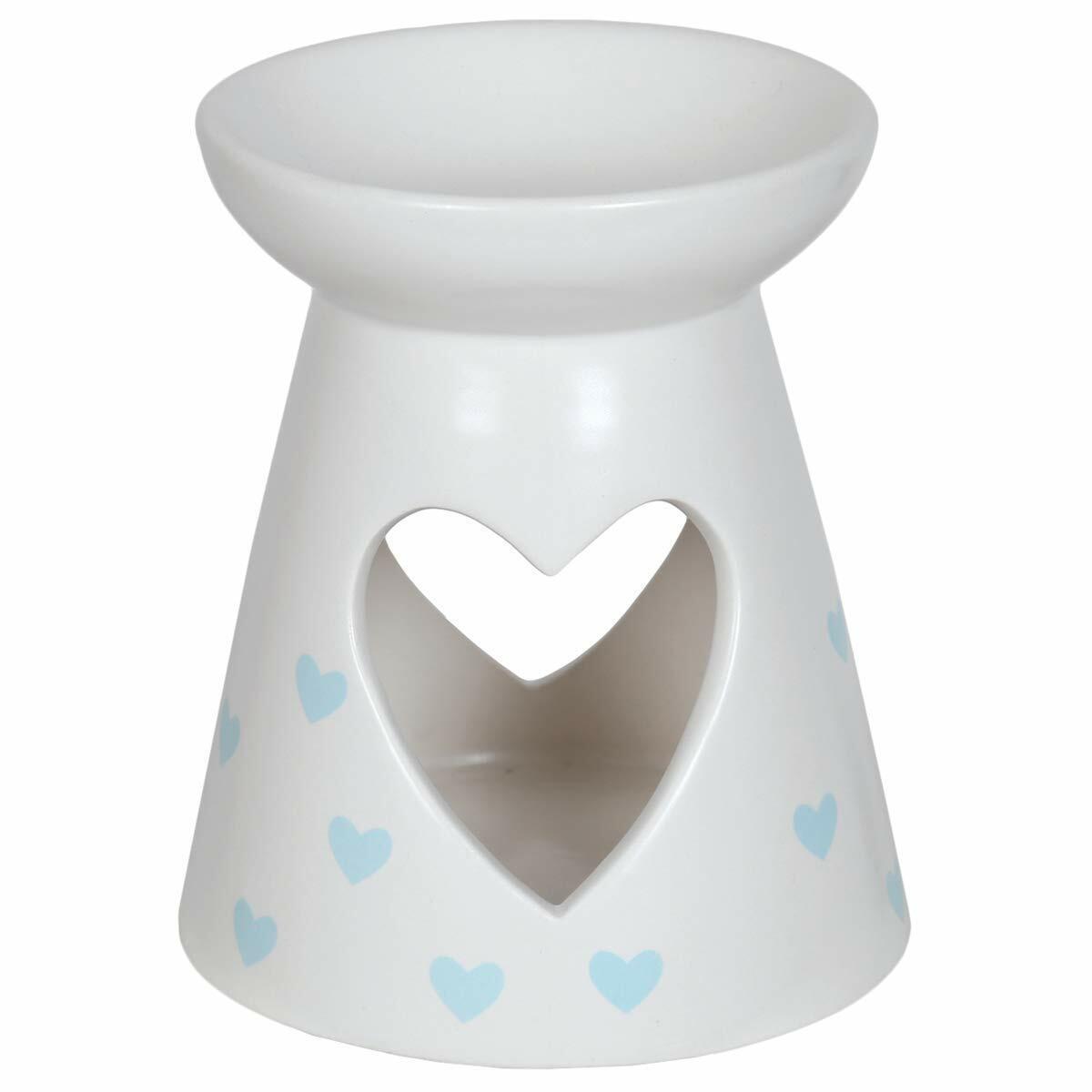Aroma Accessories Blue Hearts Pattern Ceramic Wax Melt Burner 13cm high
