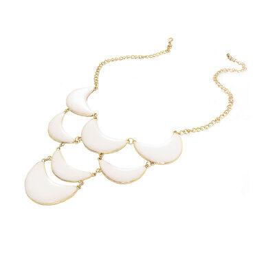 Gold White Enamel Crescent Moon Choker Necklace
