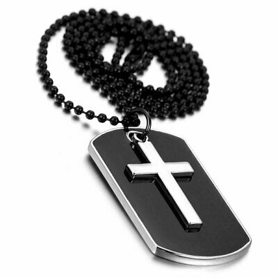 Men's Military Army Style Dog Tag Cross Pendant Necklace With 27 inch Bead Chain Fashion Jewelry