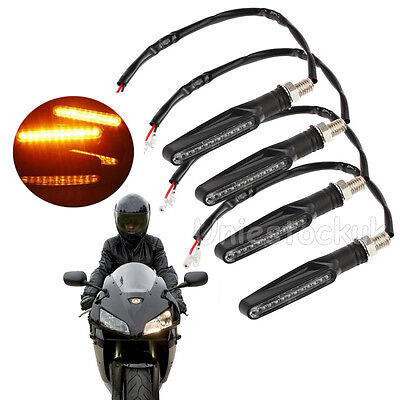 4x Universal LED Motorcycle Sport Bike Motorbike Turn Signal Indicator Amber 12V