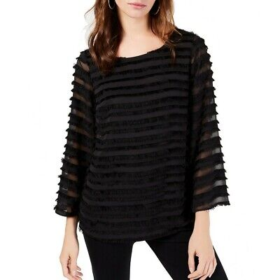 ALFANI NEW Women's Striped Lantern Sleeve Fringe Blouse Shirt Top TEDO