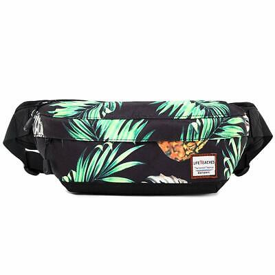 VAQM Fanny Pack Black Waist Bag for Men Women Nylon Waist Pa