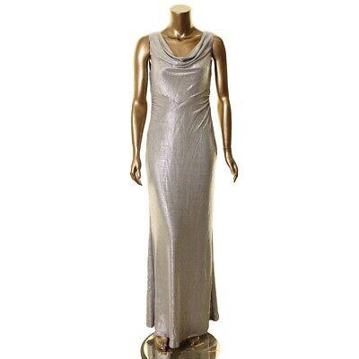 LAUREN RALPH LAUREN NEW Women's Silver Metallic Cowl Neck Gown Dress TEDO