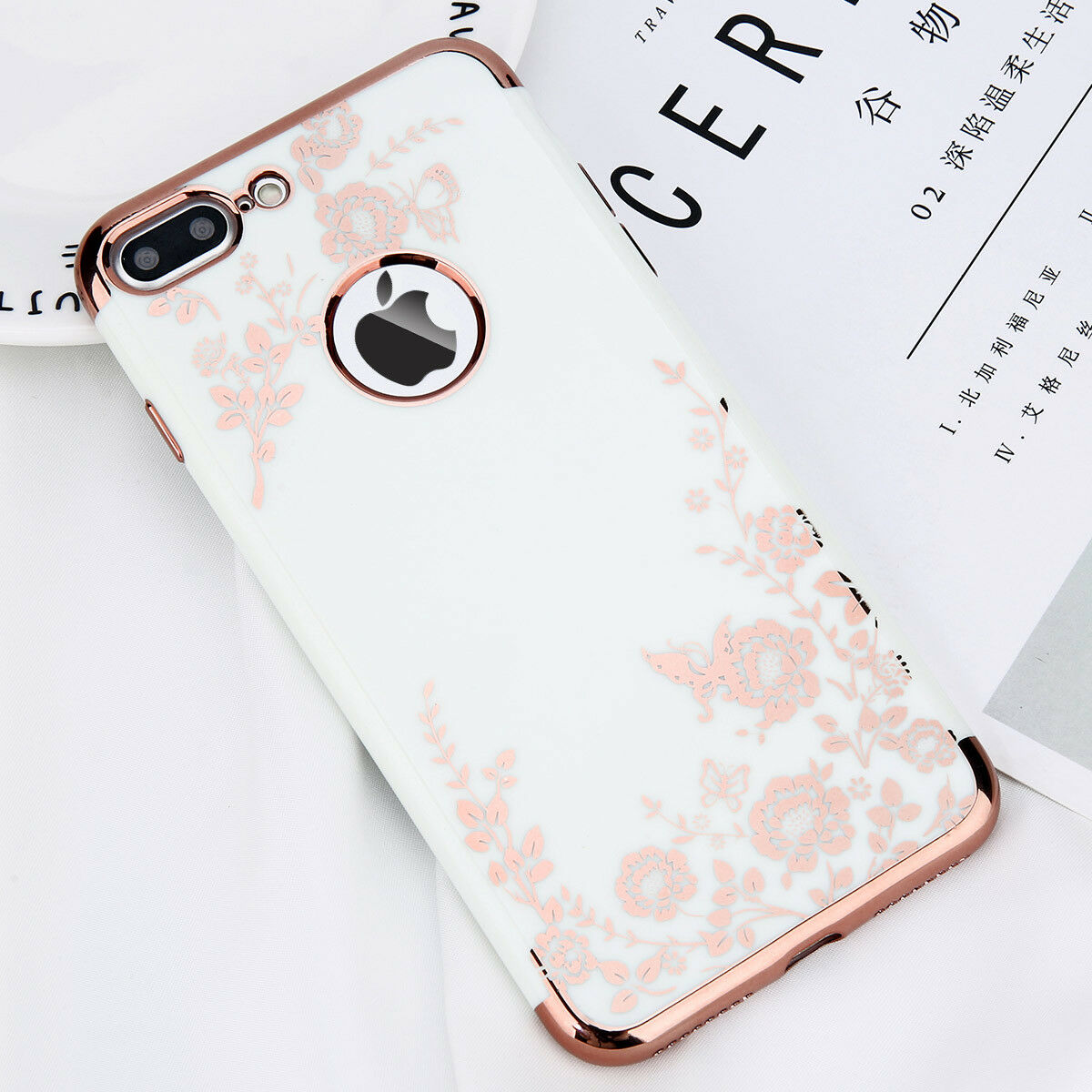 For iPhone X 6s 7 7 Plus Shockproof Plating Flower Slim Hybrid Bumper Case Cover