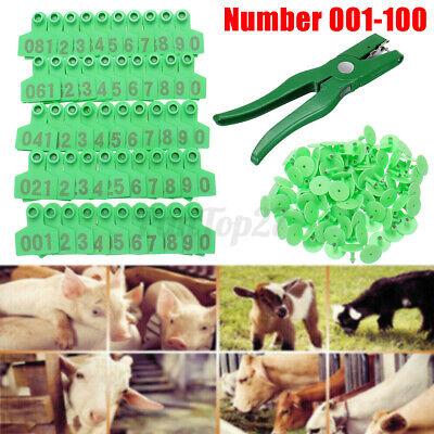 100 Number Cattle Livestock Label Set Large Ear Tags Animal Goat Sheep Pig Cow
