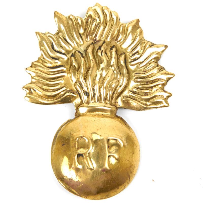 French WWI Adrian Helmet Era Flaming Bomb Brass Badge
