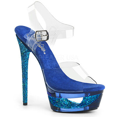 Something Blue Wedding Day Bridal Glittery Heels Platform Shoes size 6 7 8 9 10