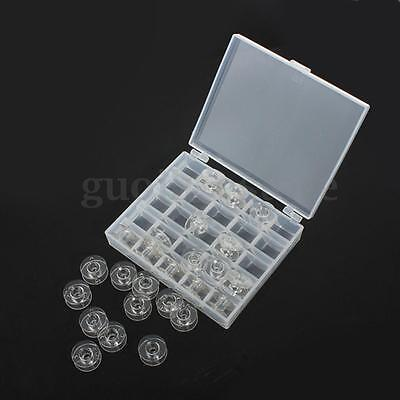 25 Empty Clear Bobbins Plastic Case Storage Box Sewing Machine Spools Brother