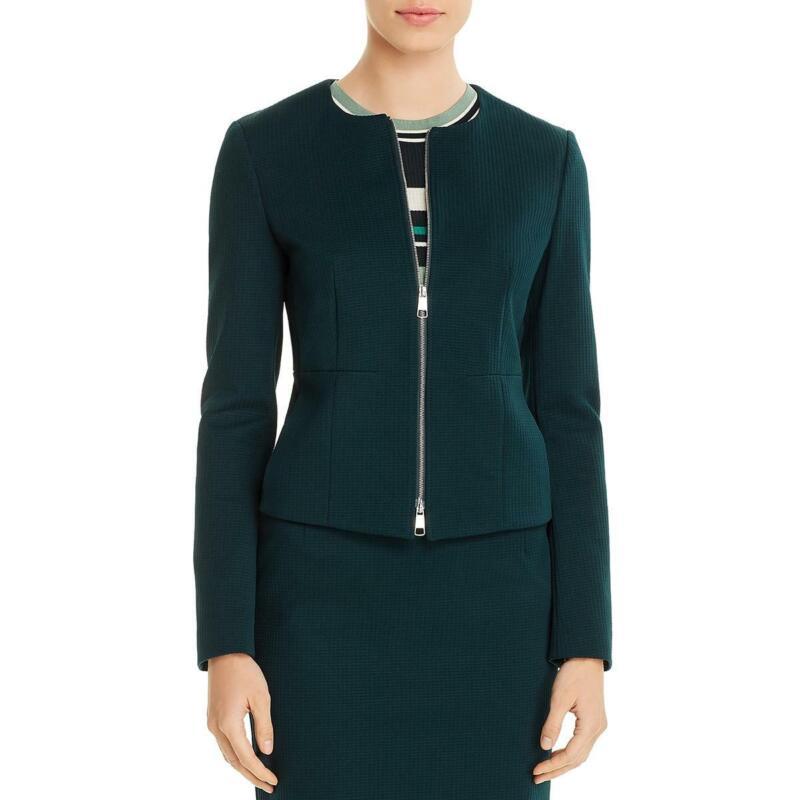BOSS Hugo Boss Womens Jaxine Checkered Collarless Blazer Jacket BHFO 9798