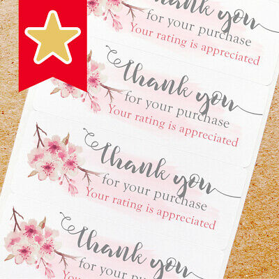 Thank You Labels Stickers For Online Shop Sellers 100ct - Cherry Blossom Sakura