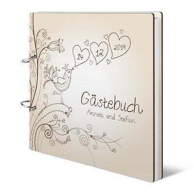 Personalisiertes Hochzeit Gästebuch Holzcover 215x215mm - Liebesbaum ()
