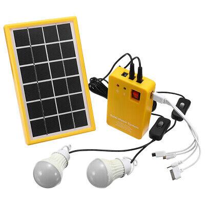 Solar Power Panel Generator Kit 5v Usb Charger Home System With 3 Led Bulbs Ligh