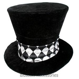 A790 Deluxe Black Velvet Mad Hatter Alice in Wonderland Costume Jumbo Party Hat
