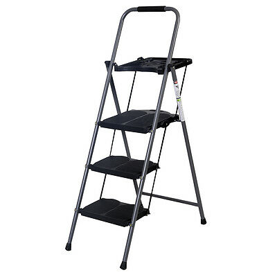 Hd 3 Step Ladder Platform Folding Stool 330 Lbs Capacity ...