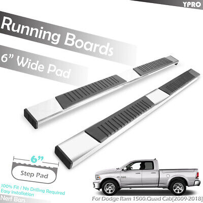 "Fits 2009-2018 Dodge Ram 1500 Quad Cab 6"" Side Steps Aluminum OE Running Boards"
