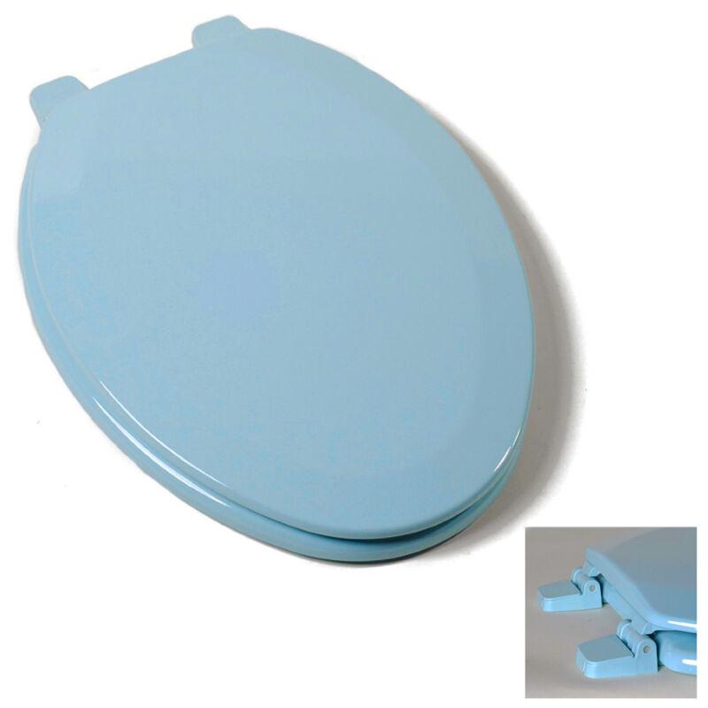 Deluxe Regency Blue Elongated Wood Toilet Seat, Adjustable Hinges