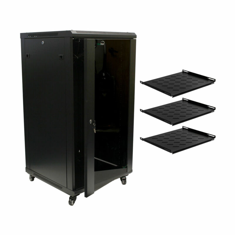 "22U Wall Mount 24"" Depth Server Data Cabinet Glass Door Lock Casters and Shelves"