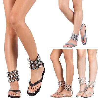 (Jeweled Rhinestone Cuff Ankle Strap Gladiator Flat Sandal Shoe Thong Open Toe US)