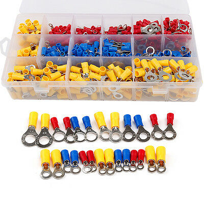 650pcs Insulated Ring Crimp Terminals Electrical Wiring Connectors Assorted Kits