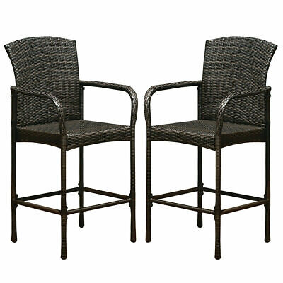2PCS Outdoor Rattan Wicker Bar Chair Seat Patio Furniture With Armrest (2 Seat Outdoor Bar)