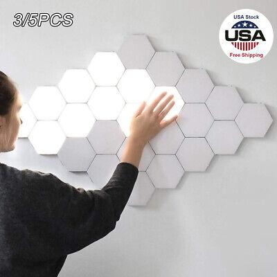 LED Modular Touch Quantum Hexagonal Magnetic Wall Light Sensor Fixture Bedroom