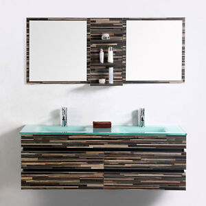 Modern Bathroom Vanity Set Wall Mount Double Glass Sink and Mirror 55  eBay