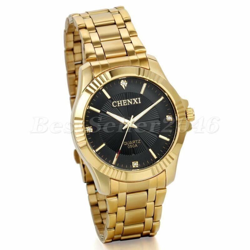 Mode Herren uhr Gold Tone Edelstahl Luxus Analog Quartz Armbanduhren Black Dial