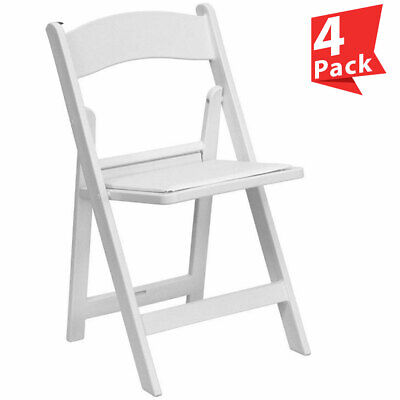 4 White Resin Folding Chair Vinyl Padded Seat 300 Lb Capacity Event Party Chairs