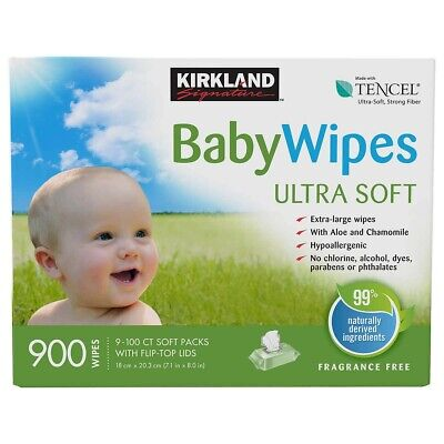Kirkland Baby Wipes (900 Wipes) Biodegradable Fragrance Free Uncented