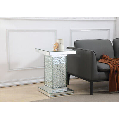 MIRRORED MODERN LIVING DINING ROOM BEDROOM DECO CRYSTAL PEDESTAL GLASS END TABLE ()