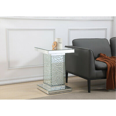 Dining Room Mirrored Pedestal - MIRRORED MODERN LIVING DINING ROOM BEDROOM DECO CRYSTAL PEDESTAL GLASS END TABLE