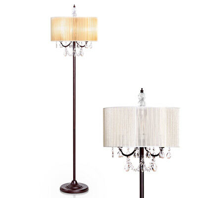 Elegant Design Sheer Shade Floor Lamp Light w/ Hanging Cryst