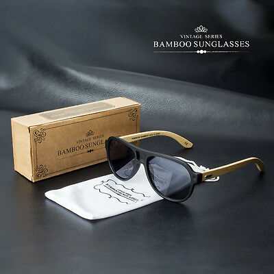 Bamboo Sunglasses Wooden Wood Mens Womens Retro Vintage Aviator Glasses Vintage
